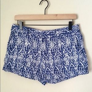Cynthia Rowley blue white printed shorts